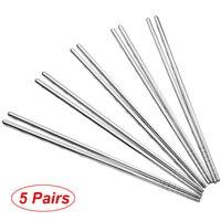 1/ 3/ 5 pares de acero inoxidable palillos de Metal chino antideslizante de acero palillo de reutilizable alimentos palitos de Sushi herramientas de cocina
