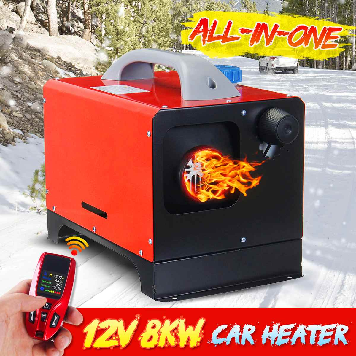 Image 3 - All In One 8000W Mini Diesel Air Heater 8KW 12V One Hole Car Heater For Trucks Motor Homes LCD /Button Remote New Arrival 2019Heating & Fans   -