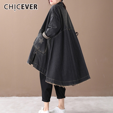CHICEVER 秋のファッション新しい 2019 ヴィンテージ韓国デニム女性ドレスラペル襟長袖非対称ルーズドレス女性