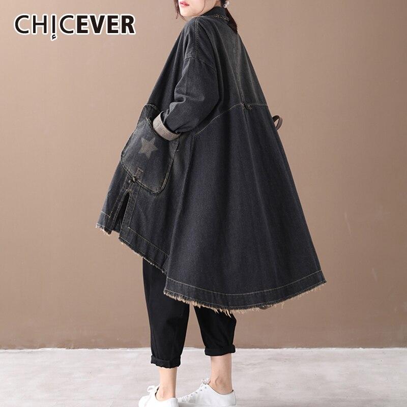 CHICEVER Vintage Korean Denim Women Dresses Lapel Collar Long  Sleeve Asymmetrical Loose Dress Female 2020 Autumn Fashion NewDresses