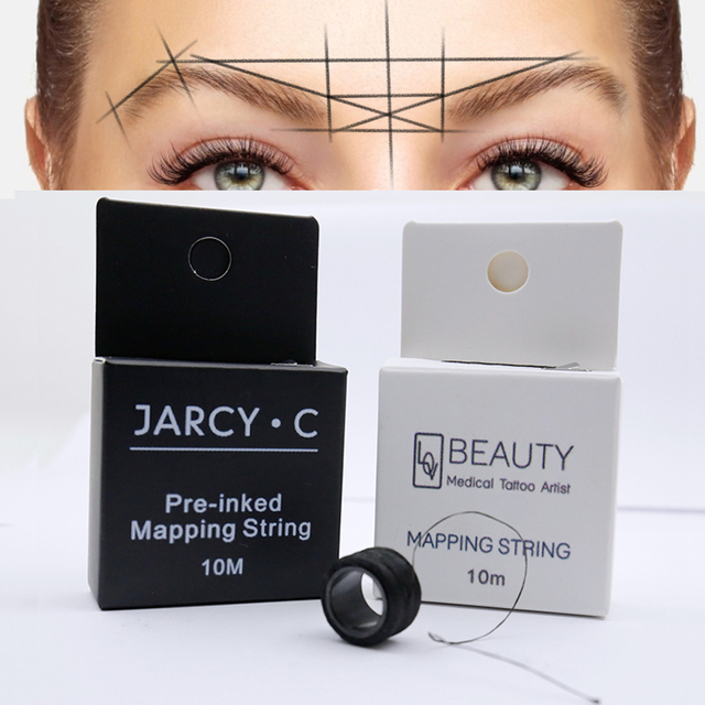 Microblading pre inked string brow mapping string Liners Thread Semi Permanent Positioning Eyebrow Measuring Tool permanent 4