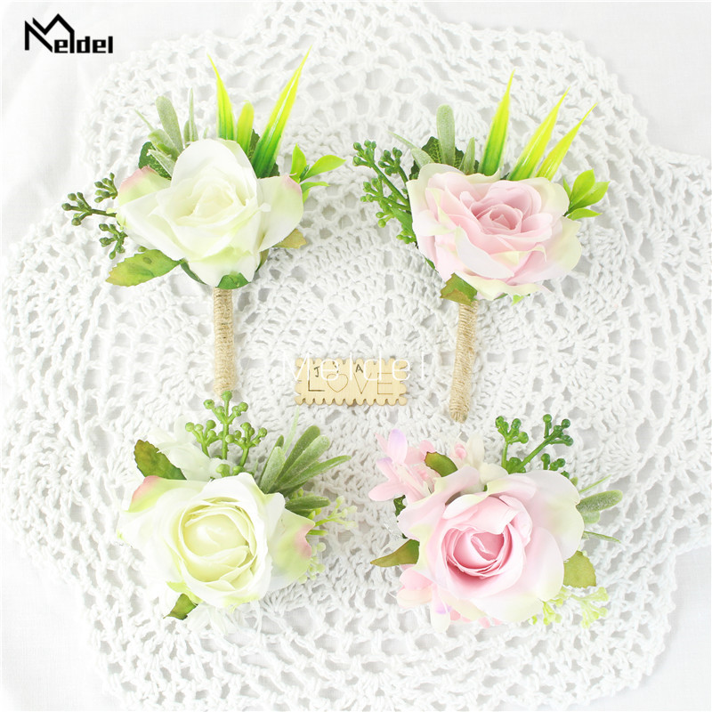 Silk Roses Groom Boutonniere Buttonhole Men Flower Wedding Corsage Pin Bracelet White Pink Wedding Witness Marriage Accessories