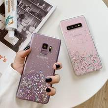 Voor Samsung Galaxy S7 Rand S8 S9 S10 Plus Note 8 9 Bling Glitter Sparkle Gold Folie Zachte Siliconen TPU transparant Back Case Cover(China)