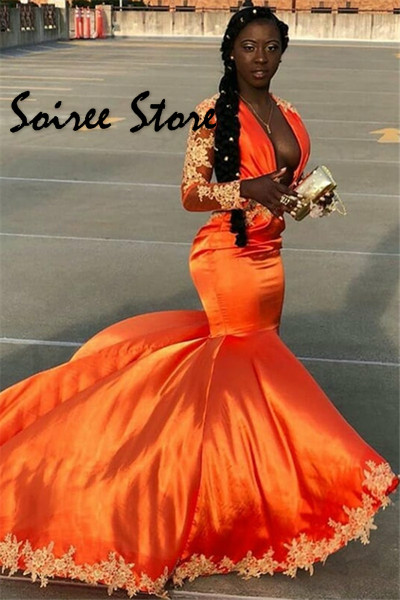 Sexy Deep V Neck Orange Prom Dresses Nigerian African Mermaid Evening Dress Long Sleeve Satin Special Occasion Pageant Gown 2020