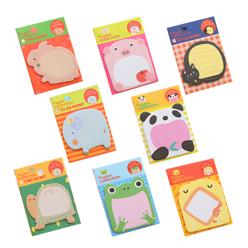 Animal Series Memo Pad Sticky Notes Bookmark Point It Journal Stickers Kawaii Paper Office School Supplies Writing Pads Notebook