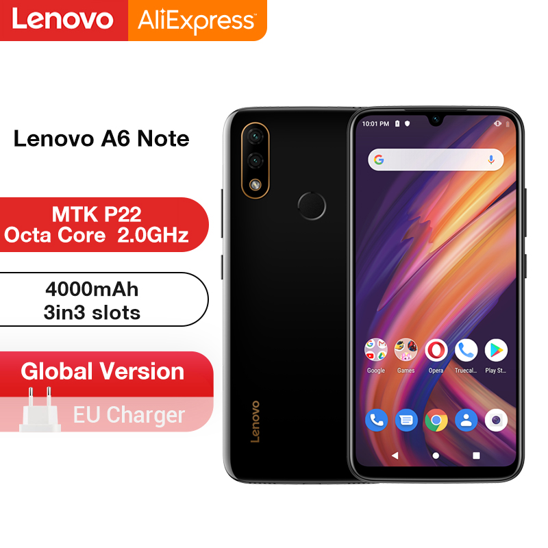Global Version Lenovo A6 Note 3GB 32GB MTK P22 Octa Core Smartphone Dual Back Cams 19.5:9 6.09'' Inch <font><b>4000</b></font> <font><b>mAh</b></font> Smartphone image