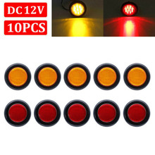 fishberg 2pcs 12v trailer led side marker lights for trucks clearance lights amber side marker round truck turn signal lamp 10pcs 12V 2inch Round Red Amber Side Marker Clearance LED Trailer Truck Lights Waterproof 180° Visibility 2 In 1 Function