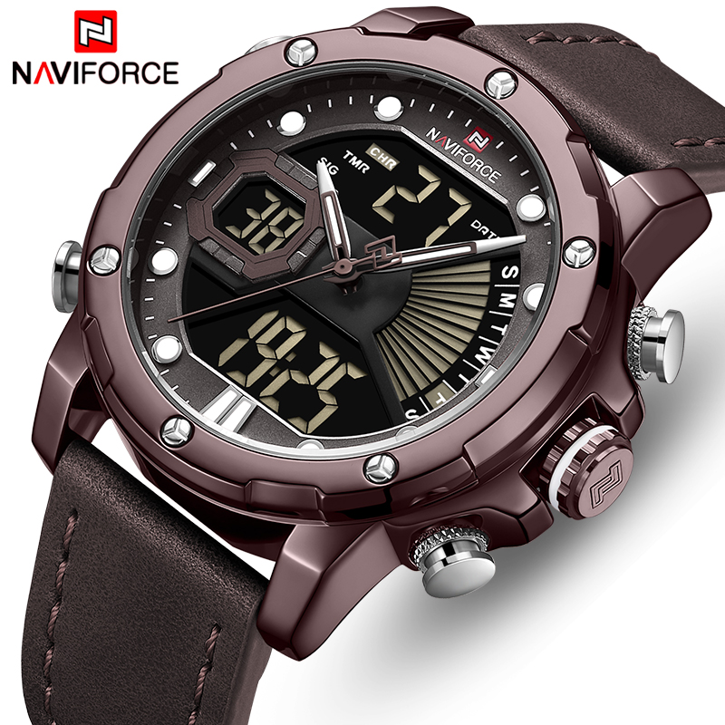 NAVIFORCE Luxury Brand Watches Men Quartz Watches Men's Fashion Auto Date LED Dual Display Wristwach Drop Shipping Reloj Hombre|Quartz Watches|   - title=