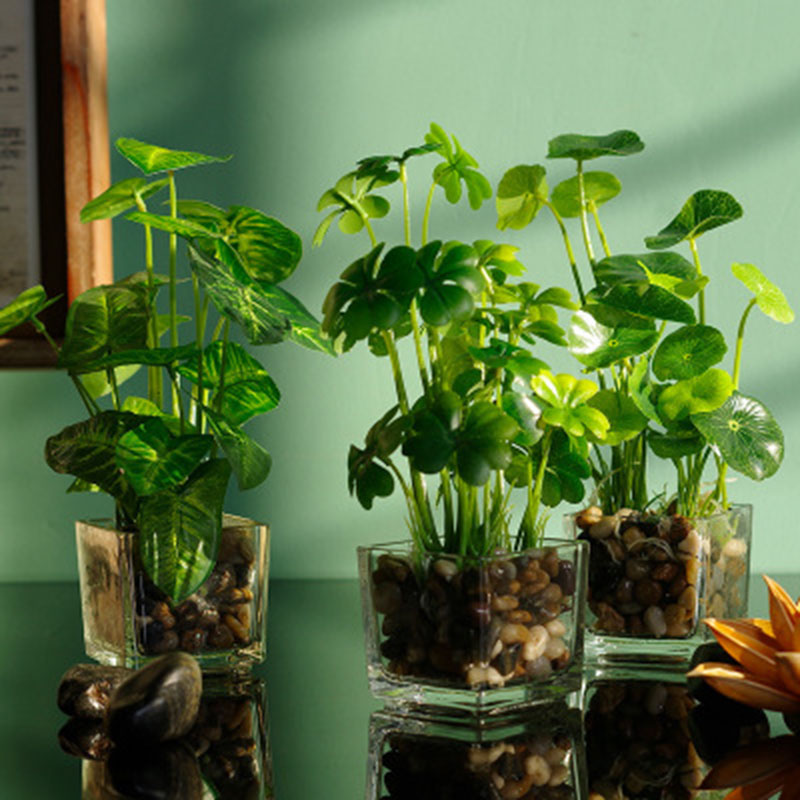 Artificial Plants With Simulation Bonsai Glass Pot 4-leaf Clover Window Decoration Household Table MU8669