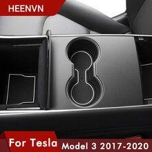 Heenvn 7 unids/set para Tesla modelo 3 alfombrilla para compartimento de puerta esteras con surcos para puerta centro de la consola Copa Model3 coche accesorio de tres