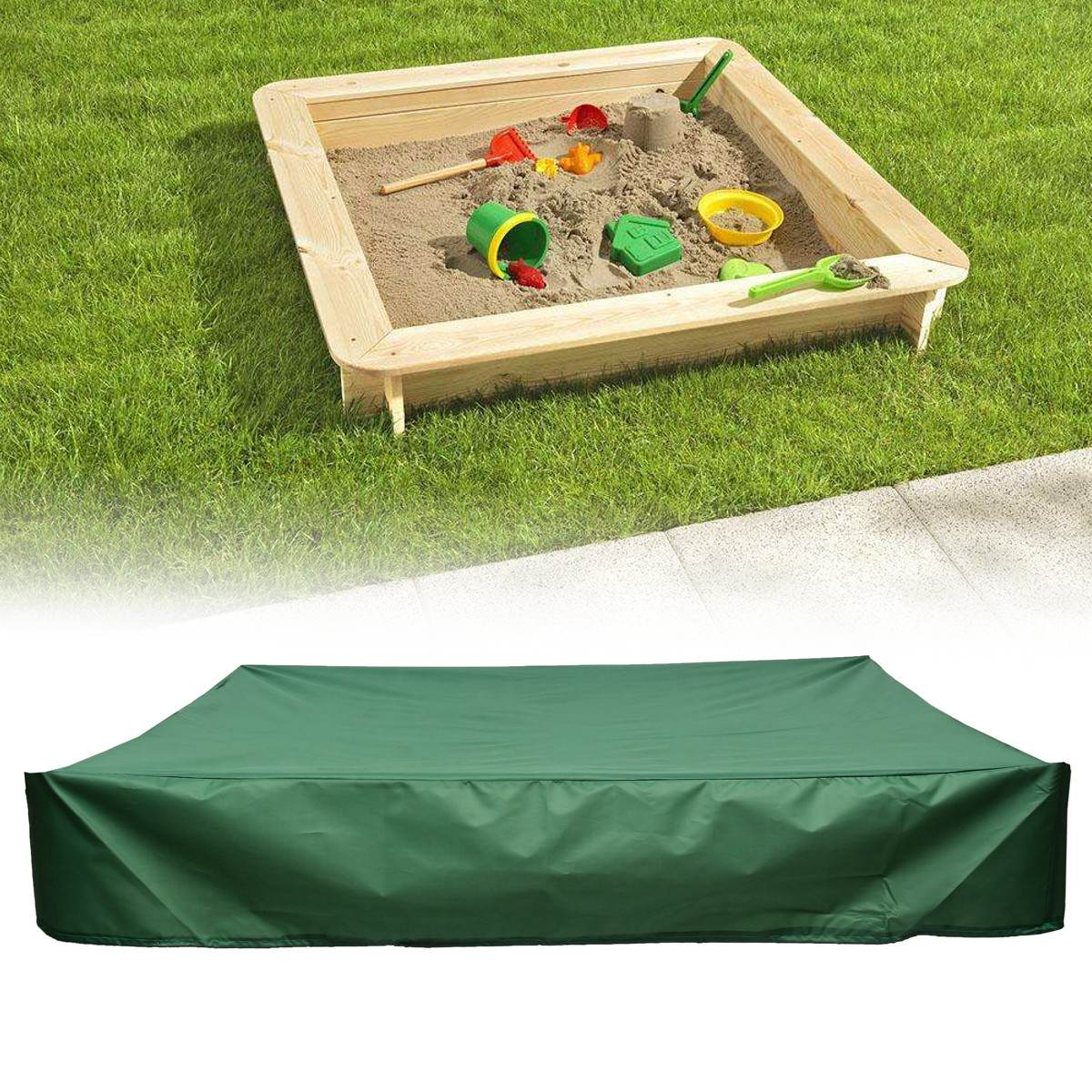 New 120/150/180/200cm Waterproof Oxford Dust Cover Square Drawstring Sandbox Sandpit Dustproof Cover Canopy Shelter Cloth Green|All-Purpose Covers| |  - title=
