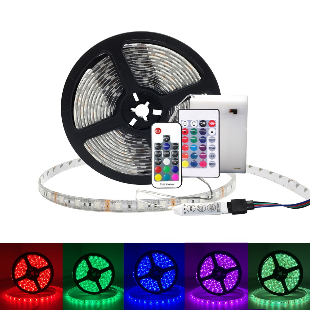 Ribbon RGB <font><b>LED</b></font> <font><b>Strip</b></font> <font><b>Battery</b></font> <font><b>Operated</b></font> SMD 5050 Tape Lights Waterproof IR RF Remote Control <font><b>Battery</b></font> Powered Fita <font><b>LED</b></font> <font><b>Strip</b></font> image
