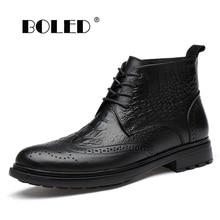 Genuine Leather Men Boots Bullock Style Plush Fur Warm Ankle Snow Boots Outdoor Rubber Sole Autumn Winter Boots Men
