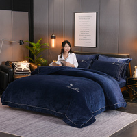 North Europe Crystal Velvet 4 Piece Bedding Sets Quick Warm Home Textile Quilt Cover Sheet Pillowcase Cold Resist Comfortable