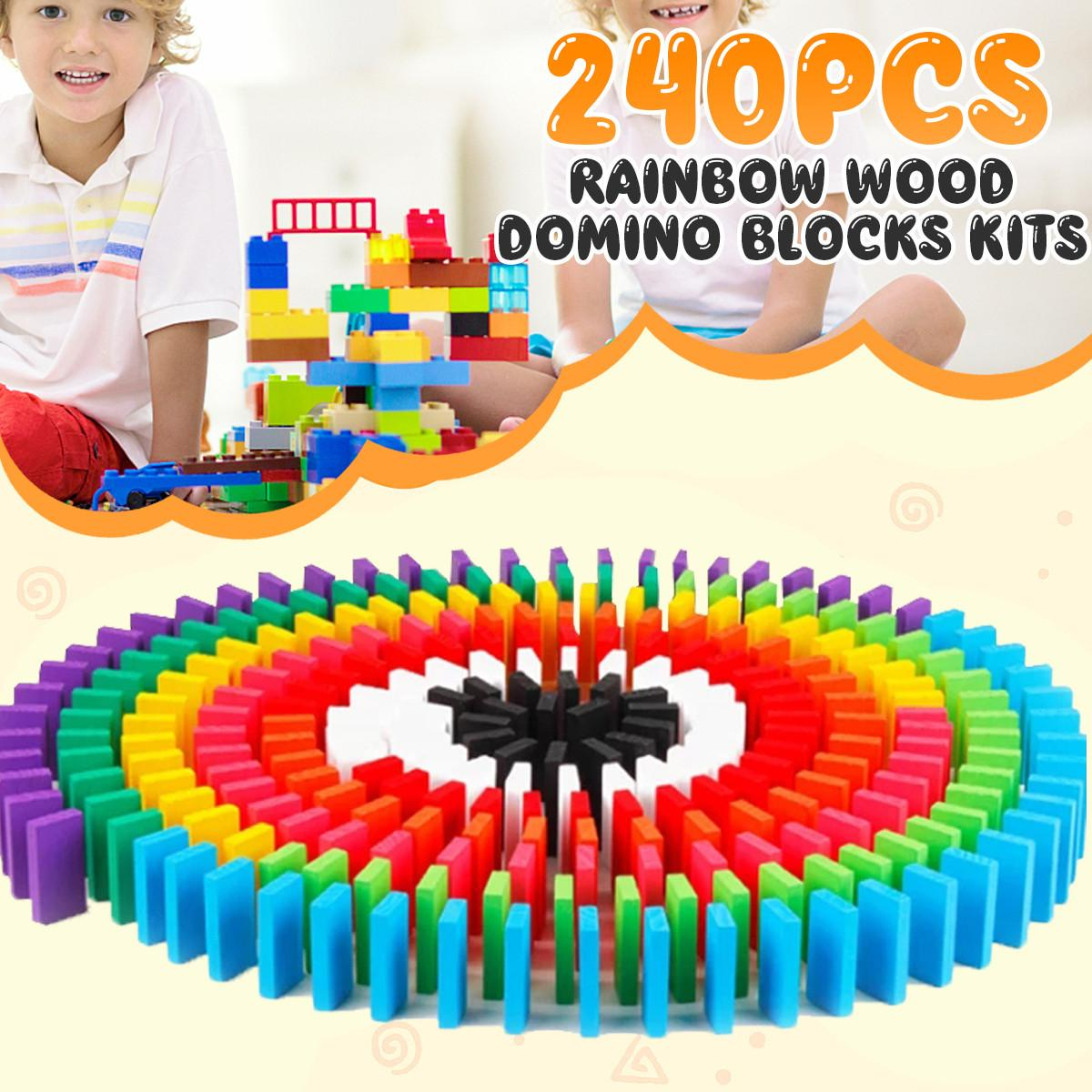240PCS/set Rainbow Wooden Domino Toy Set Kids Children Baby Dominoes Game Building Blocks Educational Natural Wood Toys Gifts