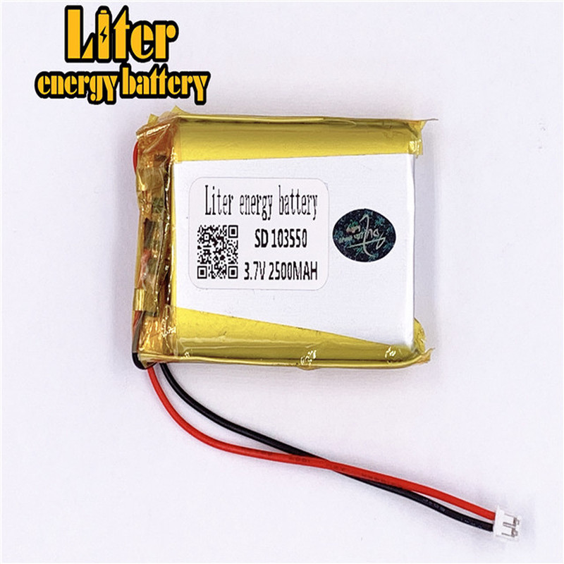 1.5MM 2pin connector <font><b>3.7V</b></font> 103550 <font><b>2500mah</b></font> Custom ultra thin Rechargeable li-ion <font><b>batteries</b></font> <font><b>lipo</b></font> <font><b>battery</b></font> with wires image