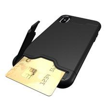KSTUCNE Card Holder Phone Case For iPhone XS Max Bracket Slot X 7Plus 8Plus 7 8 6Plus
