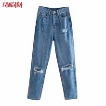 Tangada-pantalones vaqueros rasgados estilo novio para mujer, Vaqueros largos con bolsillos y botones, 4 m138, 2021