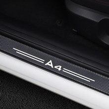 Protector de alféizar de puerta de coche, pegatinas de vinilo de fibra de carbono para Audi A4 B5 B6 B7 B8 B9, accesorios de cubierta de umbral de puerta automática, 4 Uds.
