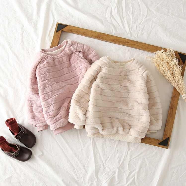 القماش re Ayta 2018 الشتاء نمط منتجات جديدة الفتيات تقليد الأرنب فروي هوديي الإناث الطفل الكورية نمط ملابس علوية سميكة