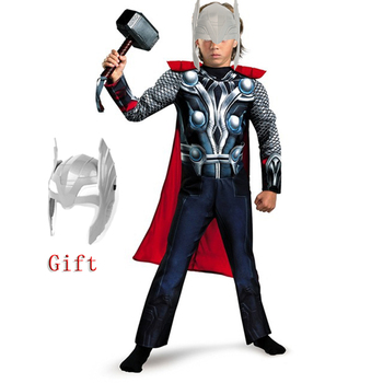 Halloween SuperHero Kids Muscle Thor Thanos with Cloak Cosplay Costumes Clothes With Harmmer Child Stormbreaker Costumes Gift image