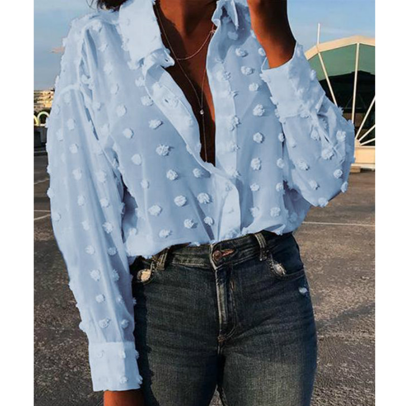 Women Fashion Streetwear OL White Blue Shirt Long Sleeve Mesh Polka Dot  Shirt Top Blouse  2019 New Fashion