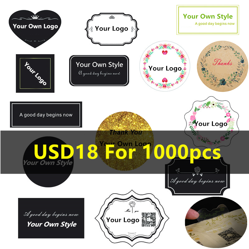Custom Stickers Print Logo Personalized Clear Plastic Kraft Paper Stickers Labels Wedding Christmas Waterproof Decoration(China)