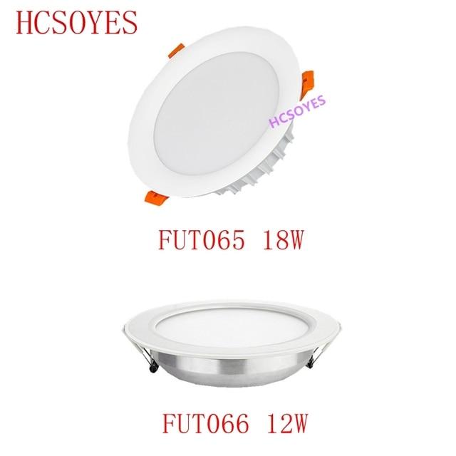 Milight FUT065 FUT066 /12W 18W LED Downlight RGB + CCT AC110 220V parlaklık ayarlanabilir kablosuz WIFI APP kontrolü AC100 240V