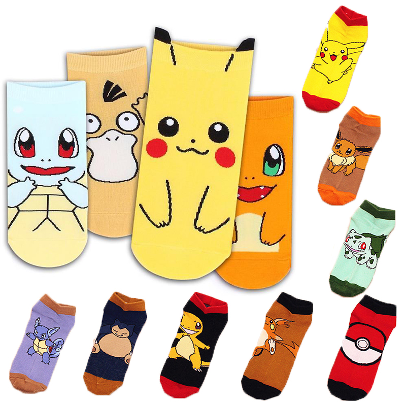 12 Styles Pokemon Go Cosplay Prop Accessories Charmander Psyduck Squirtle Pikachu Eevee Socks Printed Cartoon Ankle Socks