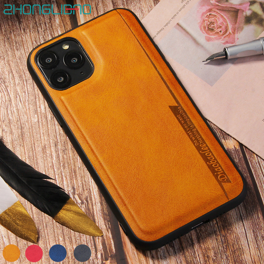 New Shockproof Pu Leather Back <font><b>Case</b></font> for <font><b>IPhone</b></font> 11 Pro Xs Max Xr Xs Coque <font><b>Silicone</b></font> Bumper Cover for <font><b>IPhone</b></font> X <font><b>8</b></font> 7 6 6s Plus Etui image