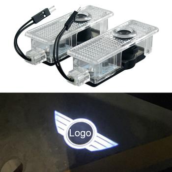 2 sztuk LED samochodów drzwiowe światło wejściowe dla Mini Cooper jeden S R55 R57 R58 R59 R60 Clubman Countryman JCW F55 F56 Logo cień projektor tanie i dobre opinie akarin Witamy Światło