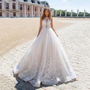 Image 1 - Boho 2020 קו תחרת אפליקציות סקסית ללא משענת חתונת שמלות לבן נסיכת כלה שמלה בתוספת גודל gelinlik