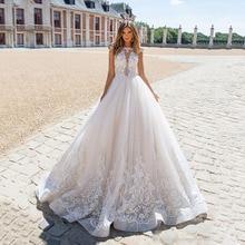 Boho Wedding Dress 2020 A Line Lace Appliques Sexy Backless Wedding Gowns White Princess Bridal Dress Plus Size gelinlik
