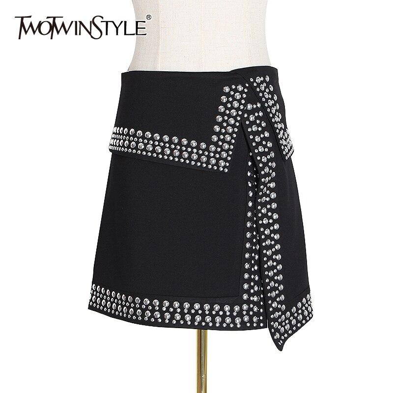 TWOTWINSTYLE Rivet Patchwork Gothic Skirts Womens High Waist Asymmetrical Bodycon Split Zipper Mini Skirt Fashion Sexy Clothing
