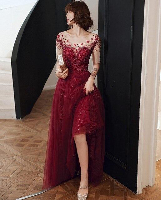 Фото роскошные дубай блёстки вечернее платье 2020 иллюзия шеи с коротким