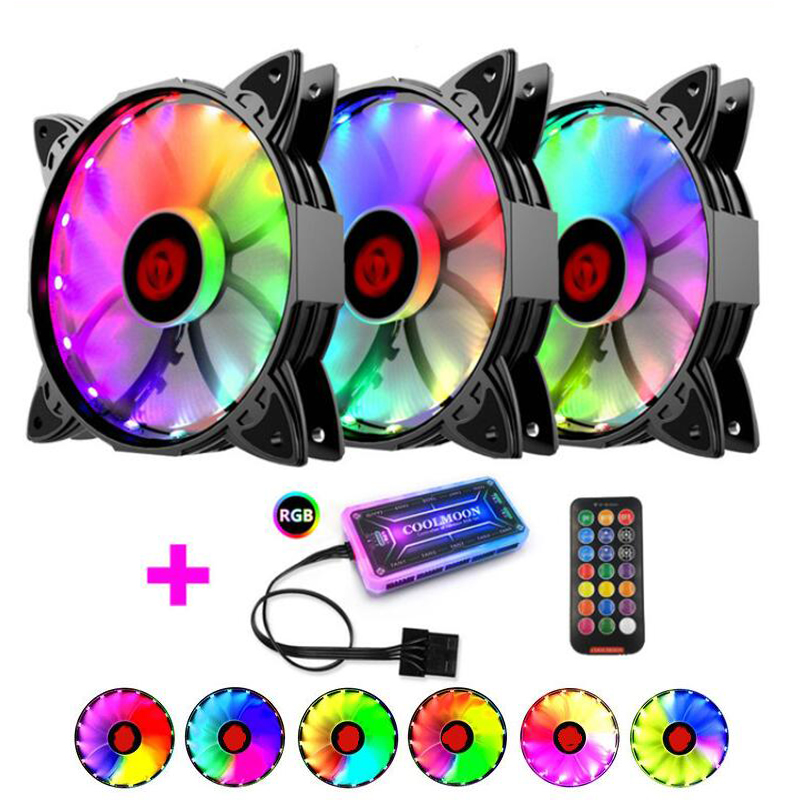 Computer Case PC Cooling Fan Cooler RGB Adjust LED 12V 6Pin 120mm Quiet IR Remote Computer Cooler Cooling RGB Case Fan