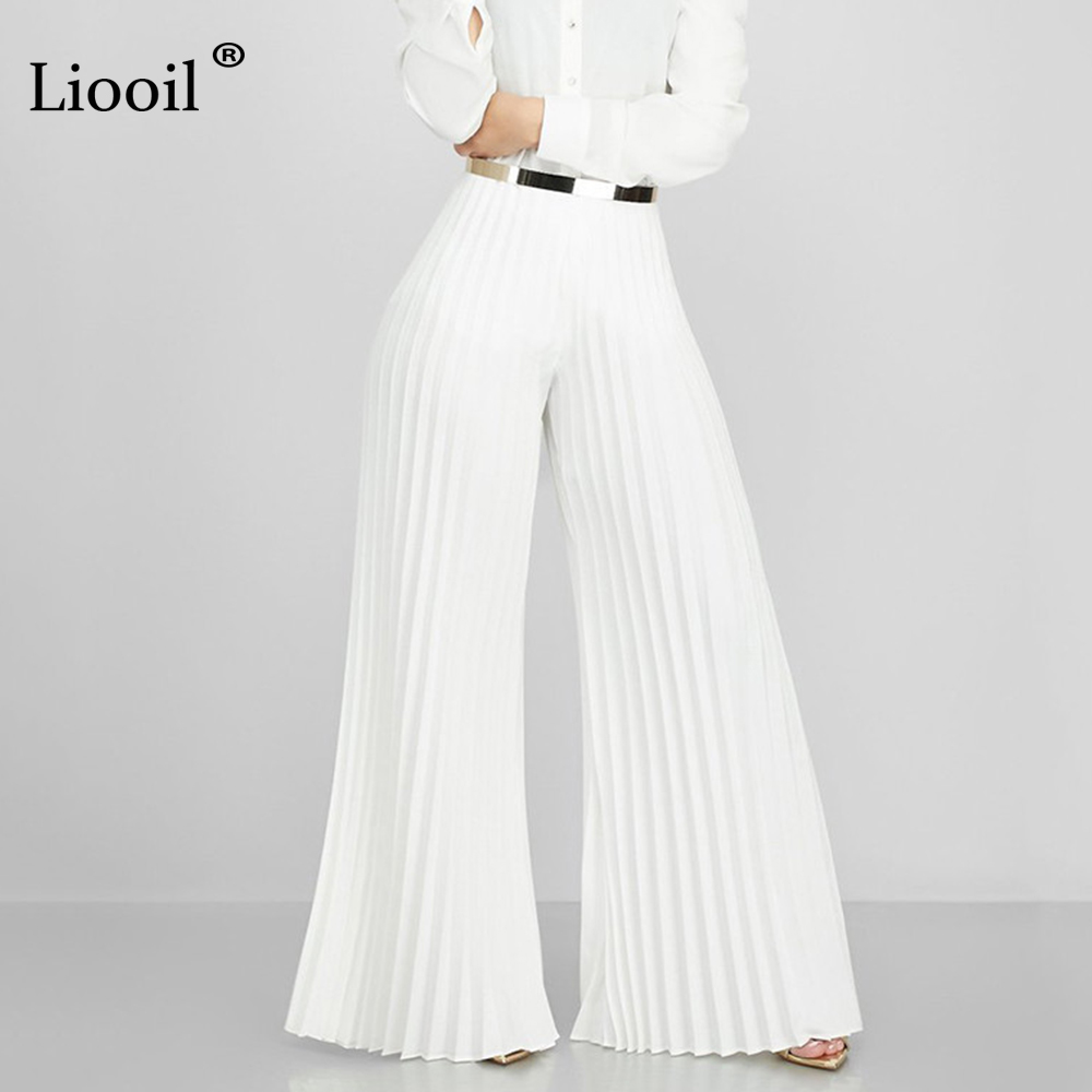 Liooil White Pleated Pants Street Wear Sexy High Waisted Trousers For Women 2019 Autumn Fashion Party Club Wide Leg Long Pant