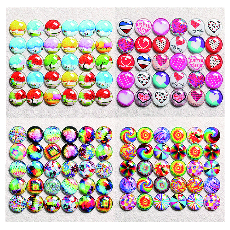 10-30pcs 10mm-30mm Round Handmade Picture Photo Glass Cabochons Base Setting Jewelry Charms Tree Rainbow