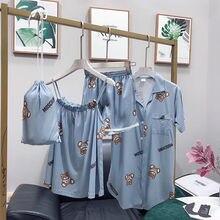 2019 Band Cotton Pajamas Set Cute Bear Women Sexy Soft New  Pyjama Home Sleepwear Long Shirt Shorts Blinder 4 Pieces/Set