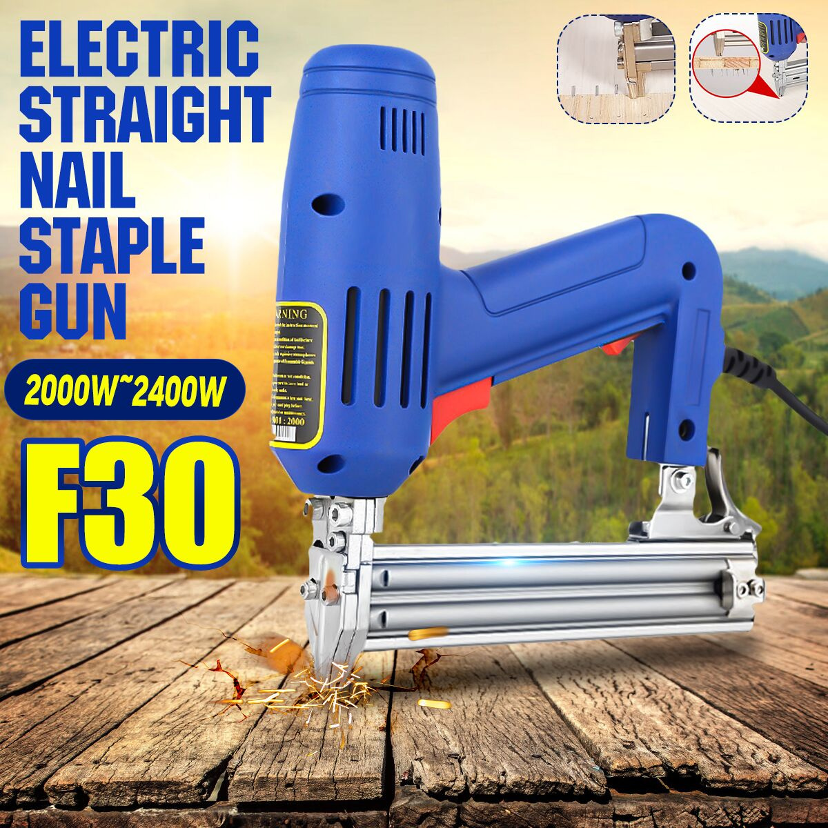 Drillpro Electric Straight Nail Gu 2000W 220V Heavy-Duty Woodworking Tool High Power Electrical Staple Nail Woodworking Tools