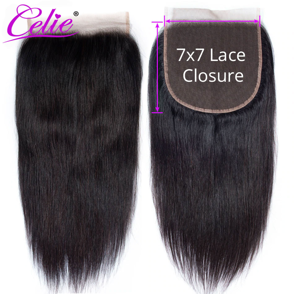 Celie Hair 7x7 Lace Closure Straight Human Hair Closure Pre Plucked Free Middle Three Part Swiss Lace Brazilian Hair Closure