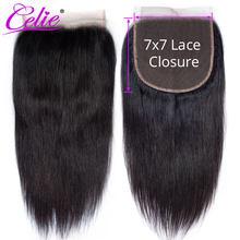 Perruque Lace Closure brésilienne 7x7-Celie | Perruque naturelle, cheveux lisses, pre-plucked, trois parties, partie libre, Swiss Lace, Closure