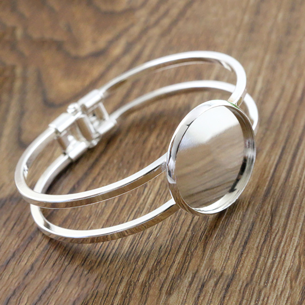High Quality  25mm Silver Plated Bangle Base Bracelet Blank Findings Tray Bezel Setting Cabochon Cameo  (L6-02)