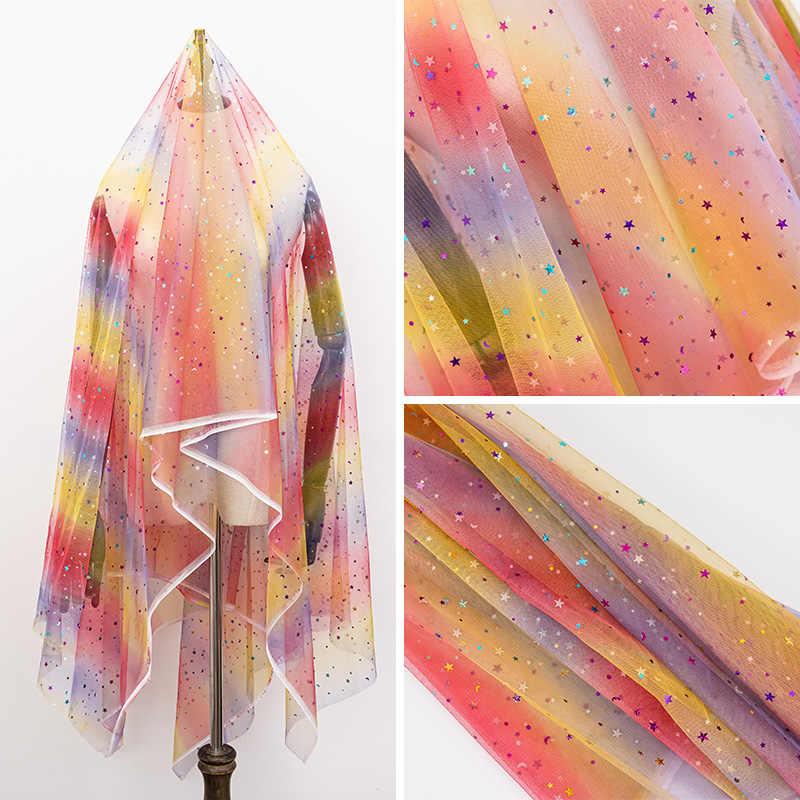 Tela de tul a buen precio para coser el vestido de los niños tela de malla de estrella para la decoración colorida del fondo DIY 45*135 cm/unids TJ0167-2