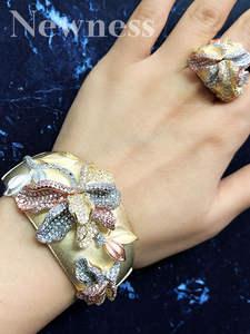 Newness Jewelry Bangle Bracelet Flowers Begonia Wedding Luxury Ring-Set Women 3-Tone