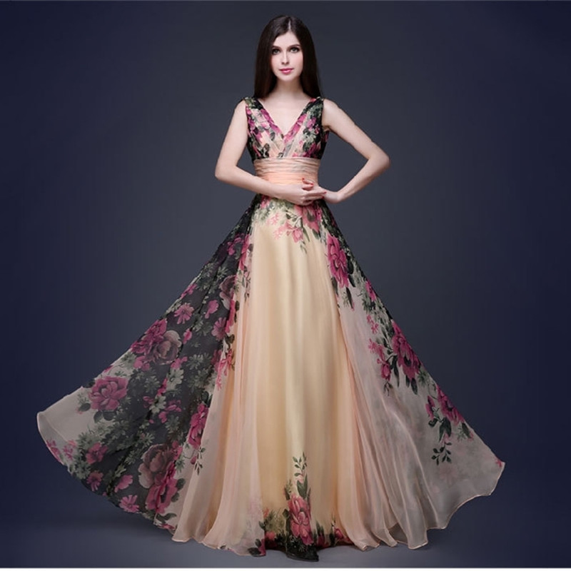Vintage Floral Printed Prom Dresses A-Line Double V-Neck Sleeveless Ruched Tulle Elegant Formal Party Gowns Vestidos De Gala