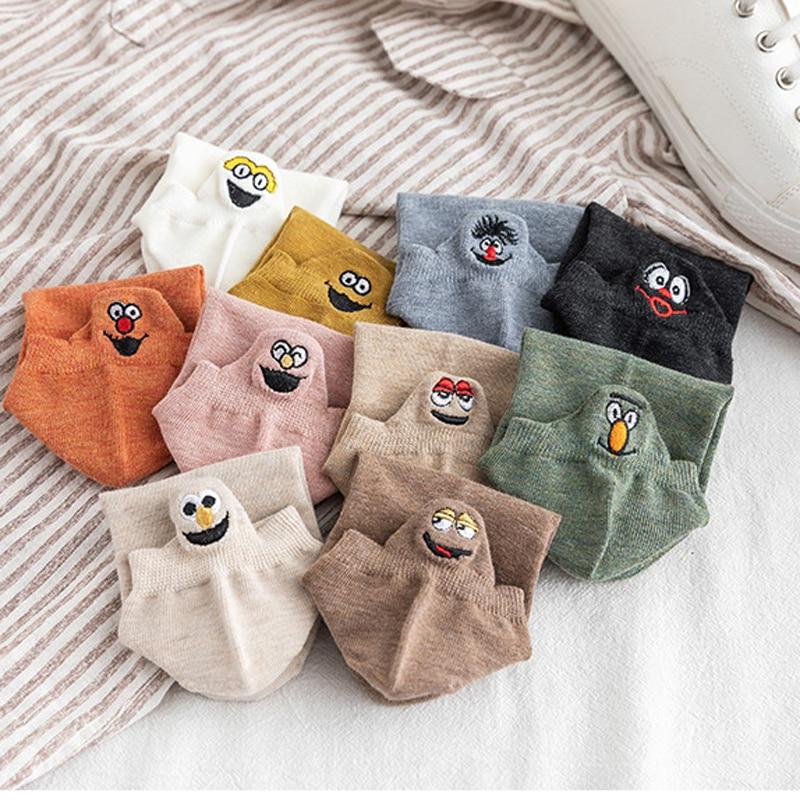 1pair Kawaii Embroidered Women Socks Fashion Ankle Funny Socks Candy Color Cotton Women Socks Cute Cartoon Pattern Sock Sokken in Socks from Underwear Sleepwears