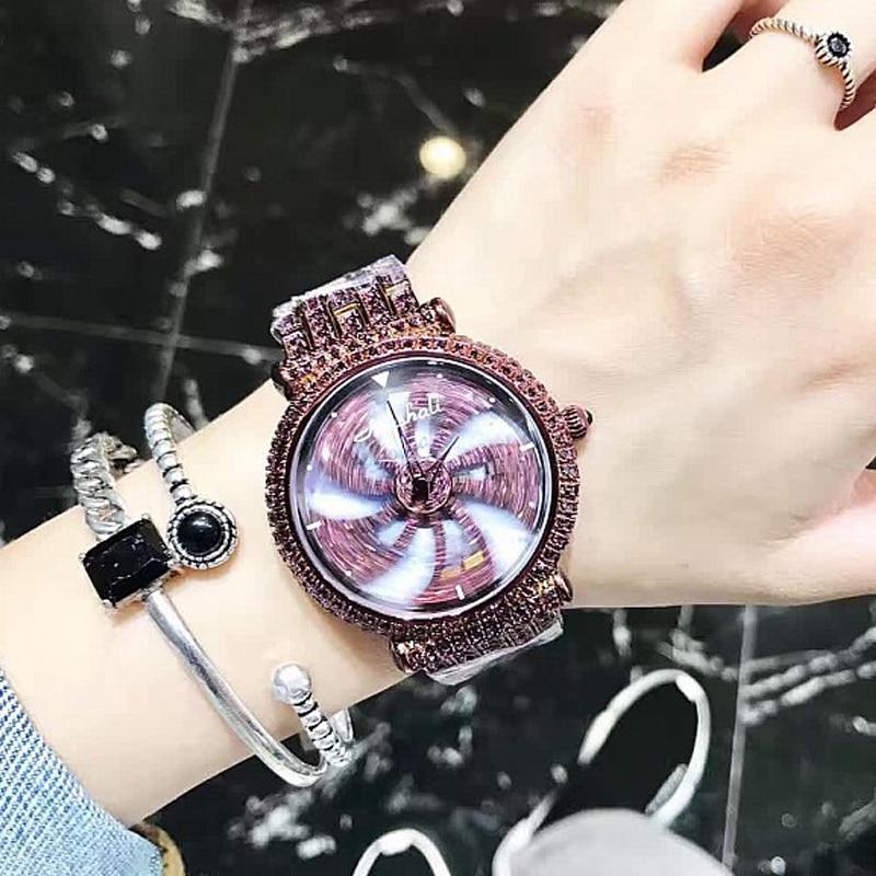 Rotating  Flower Watch Diamond Luxury Women Watches Purple Stainless Steel Quartz Wristwatch Ladies Female Watch