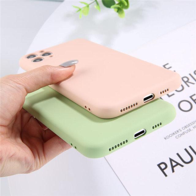 Lovebay couleur bonbon coque de téléphone pour iPhone 11 11 Pro Max Silicone liquide solide uni pour iPhone 11 coque souple coque arrière en TPU 5