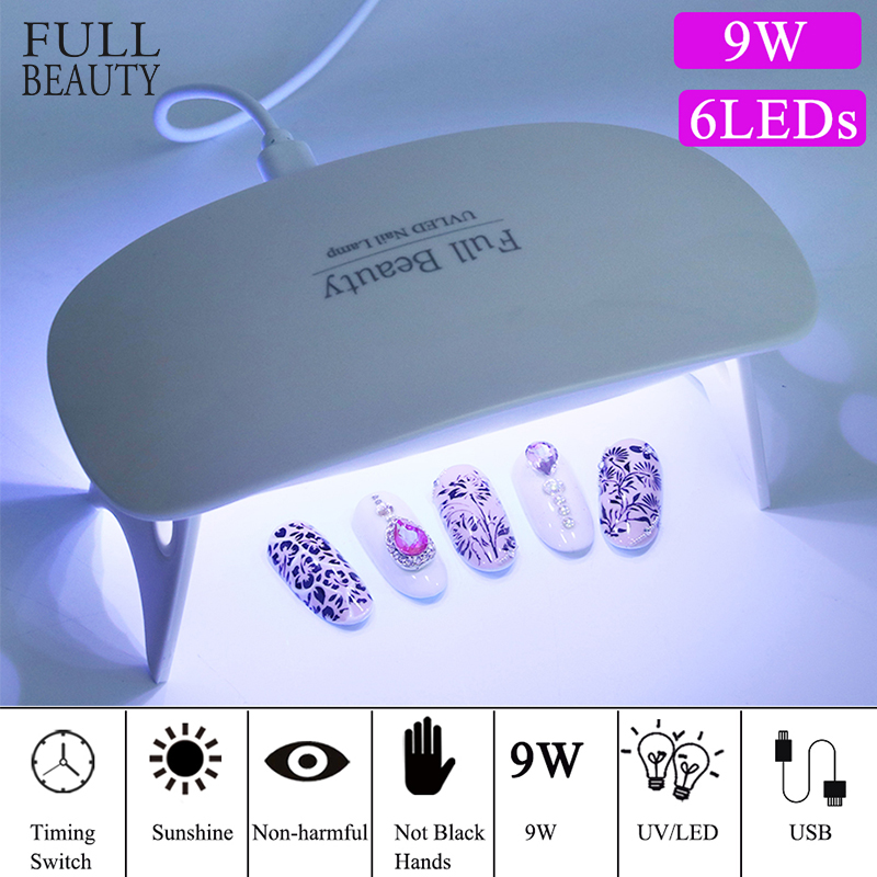 9W Small Led UV Lamp Nail Dryer Curing All Gel Polish Sun Light Portable UBS Lamp For Manicure Home Trips For Gel Nails CHMini